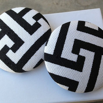 EXTRA Oversized Black and White Zig Zag Tribal Print Fabric Button Earrings