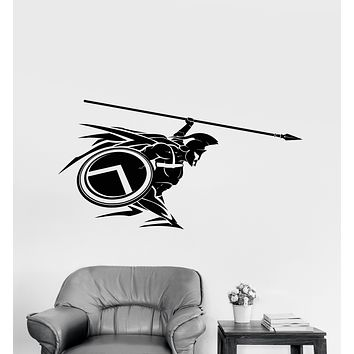 Vinyl Wall Decal Spartan Warrior With Spear Helmet Stickers (3373ig)