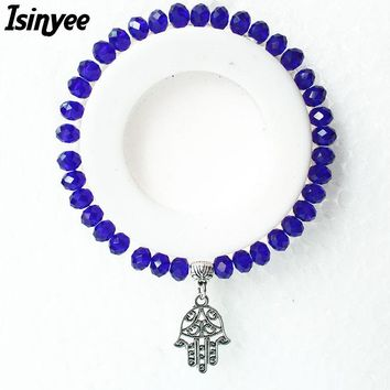 ISINYEE Fashion Small Hamsa Crystal Bracelets Turkish Evil Eye Charm Elastic Bangles For Women Girl Handmade Rope Lucky Jewelry