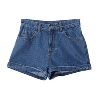 Rolled Cuff Denim Shorts (Dark Blue) | STYLENANDA