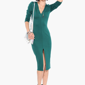 V-Neck Long Sleeve Bodycon Midi Dress With Front Slit