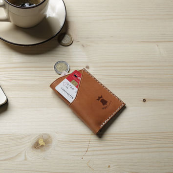 No. 3 Minimalist Handmade Leather Wallet, Full Grain, Front pocket wallet, Credit card wallet, Sun tanned
