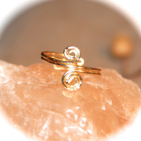 Double Swirl Wire Wrapped Ring, Knuckle Ring, Toe Rings, Toe Ring, Ring Handmade, Midi Ring, Gold Thin Ring