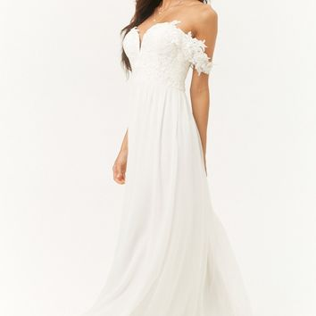 Soieblu Beaded Lace-Bodice Gown