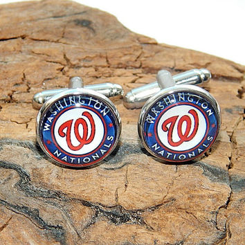 Washington Nationals baseball cufflinks, Washington Nationals baseball sports team, Washington Nationals logo, Washington baseball patch