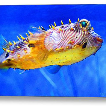 Cute Puffer Fish Art Print from Painting Puffy Tropical Fun Blue Yellow Beach Colorful CANVAS Ready To Hang Large Artwork Fishing Sea Ocean