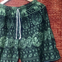 Elephants Boho Printed Shorts Hipster Beach men wear fashion Clothes Ethnic Bohemian Clothing festival Spring wear gift for him in green