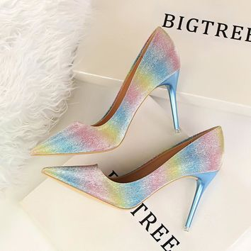 Shiny tie pointed heels shoes [9521608205]