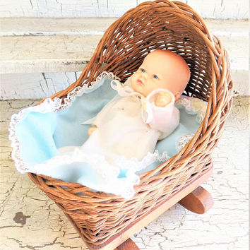 Doll with Cradle, Hand Crafted Rocking Basket, Doll Baby with Gown and Blanket