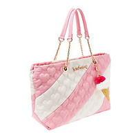SPLIT DECISION QUILTED HEART TOTE: Betsey Johnson