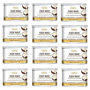 Gigi Flex Wax Coconut Honee Hair Removal Wax 13 oz - 12 pcs