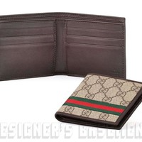 GUCCI Mens brown GG SUPREME Canvas red & green WEB Bifold wallet NIB Authentic!