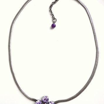 swarovski crystal pendant necklace, violet and opal, better than sabika,