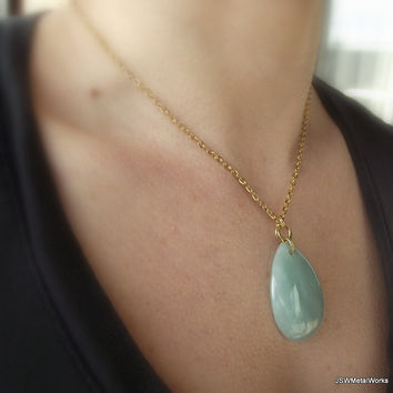 Gold Mobius, Green Aventurine Teardrop and Gold Necklace, Gold Plated Necklace, 20 inch gold necklace