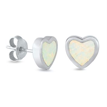 .925 Sterling Silver Tiny Heart White Fire Opal Ladies and Girls Stud Earrings