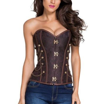 CREYCI7 2016 New Summer Women's Sexy 14 Steel Bones Brown Steampunk Corset with Thong LGY50005