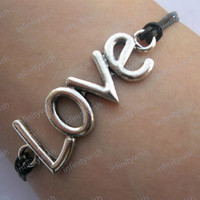 Braceletantique silver love braceletreal leather by infinitywish