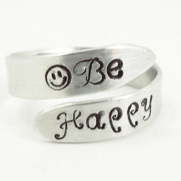 Hand-stamped Be Happy ring - Aluminum smiley face ring - Men's ring women's ring - Handmade adjustable silver-tone ring