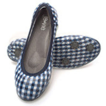 Gingham/Navy Flats-Available 3.15