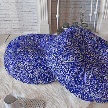 Aimee St Hill Amirah Blue Floor Pillow Round