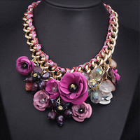 Gold Chain Crystal Purple Flower Bib Chunky Statement Necklace Bubble Collar