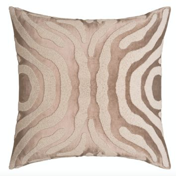 Zebra Fawn and White Square Pillow by Lili Alessandra