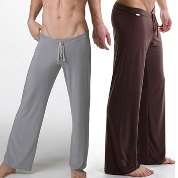 Men loose smooth casual lounge pants Long johns body building trousers sleep bottom underwear men