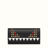 FENDI | CHAIN CONTINENTAL WALLET in black leather with Bag Bugs pattern