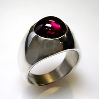 Unique Ruby Mens Ring in Solid Sterling Silver | DougPetersonJewelers - Jewelry on ArtFire