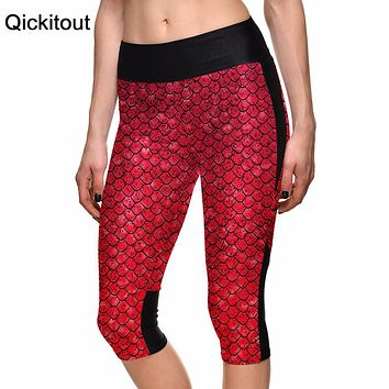Plus Size Women's Red Mermaid Scales Digital Print High Waist Leggings