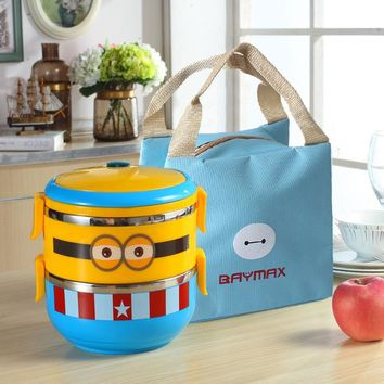 minions Tiffin Cartoon Lunch Box Thermal Leakproof Plastic Stainless Steel l Food Container Bento Box Kids Boy Girl Student