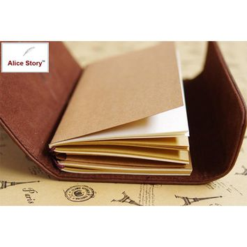 Alice Story Faux Leather Travel Journal Insert Refill Replace Notebook Inner Core 17x9cm Size Spiral Loose Leaf Diary Hot Sale