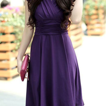 Purple V-Neck Ruched Mini Dress