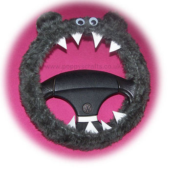 Monster Roar Grey steering wheel cover faux fur fluffy furry fuzzy car truck van jeep cute googly eyes teeth dragon truck suv fun van