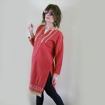 Vintage Indian Kurti - Hippie Dress - Beading Embroidery