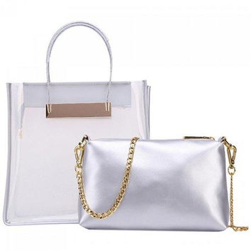 Stylish Magnetic Closure and Transparent Plastic Design Tote Bag For Women