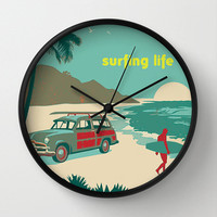 Surfing Wall clock - Modern clock - nautical art - Nursery decor - Decorative Clock -Contemporary decor - Wall Decor - Wall art