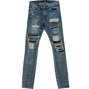 Indie Designs Leather-Inset Distressed MX1 Jeans