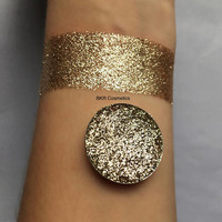 Gold pressed glitter eyeshadow, 26mm magnetic pan or jar, cosmetic grade glitter