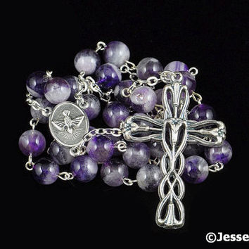 Anglican Rosary Purple Chevron Amethyst Natural Stone Prayer Beads Silver Christian Episcopal Rosary Beads
