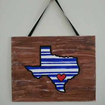 Texas State Map - Home Town Love - Personalized State Map - Custom Painting