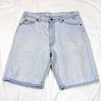 Mens Levis Shorts Relaxed Fit 550 Size 36 Light Blue Jeans Denim Zip Fly