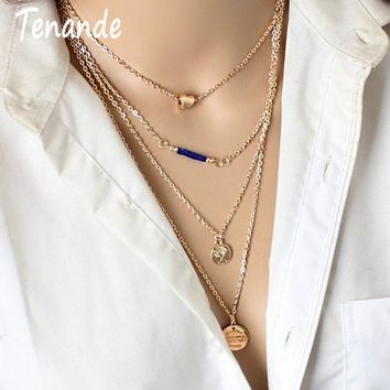 Tenande Bohemian Multi Layer Big Statement Beads Sequins Coin Love Heart Chain Necklaces & Pendants for Women Party Jewelry Gift