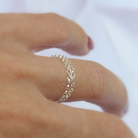 Delicate ring - silver chain ring, Thin silver ring, Double sterling silver chain ring, Sterling Ring