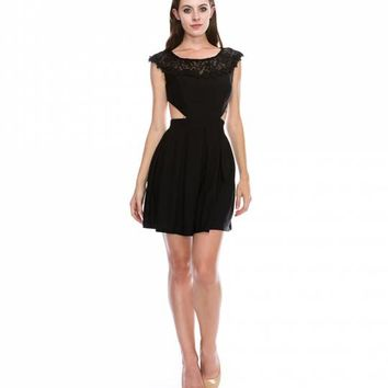 Preorder - Black Cap Sleeve Cut Out Short Dress For Homecoming 2017