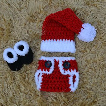 Crochet Baby Christmas Outfit Newborn Christmas Photo Prop