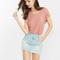 express one eleven ribbed rolled sleeve tee