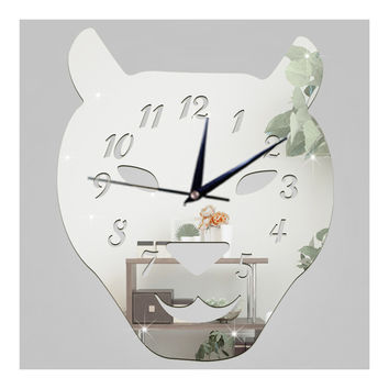 Leopard Cat Silent Quartz Living Room Decoration Mirror Wall Clock   silver