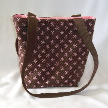Purse, Brown Purse, Small Tote Bag, Fabric Bag, Cloth Purse, Brown, Flowers, Polka Dots, Handmade Handbag, Shoulder Bag, Teen Purse
