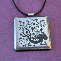 Fairy Necklace, Silver Dichroic Fused Glass Pendant, Handmade Jewelry - Angelic - 4307 -1